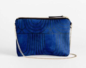 Small Crossbody Bag, Blue Clutch Purse, Non Leather Vegan Suede Purse, Art Deco Vegan Bag, Evening Bag, Bridesmaid Clutch, Gift For Her,