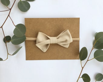 Blushed Beige Indie Bow