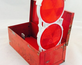 Vintage Red Metal Box with Car Reflectors, Roadside Reflectors in Red Metal Box