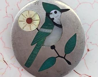 Native American Brooch RNL Zuni Brooch Inlaid Blue Jay Bird Brooch Ruddell Nancy Locansello