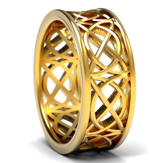 Celtic Wedding Ring With Open Cut-Through Knotwork Design in 10K 14K 18K Gold, Palladium or Platinum, Made in Your Size 1139
