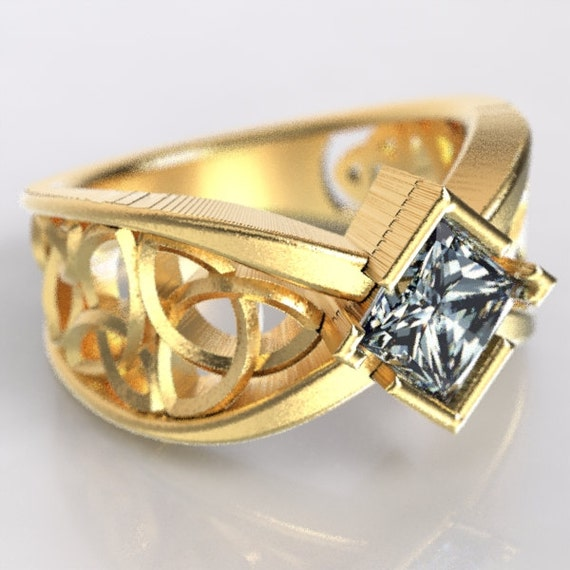 Gold Celtic Wedding Ring With Square Princess Cut Moissanite Trinity Knotwork Design in 10K 14K 18K or Palladium, Made in Your Size Cr-1025