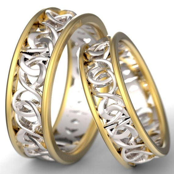Celtic Knot Yellow and White Gold Ring Set With Woven Dara Knotwork Design in 10K 14K 18K Gold, Wedding Rings Made in Your Size CR-5006