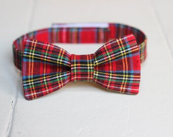Boys Red Plaid Bow Tie - Red Christmas Bow Tie, Red Bow tie, Red Baby Bow Tie Little Boys Bow Tie Red Toddler Bow Tie Toddler Boys Bow Tie