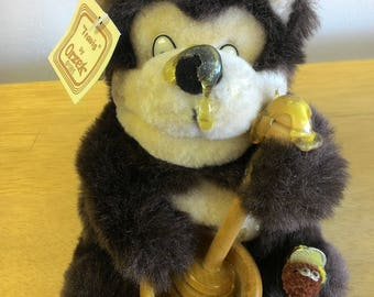 New 1995 Travis Honey Pot & Bees Brown Teddy Bear, Dripping Honey, Orzek Plush Animal, Beehive
