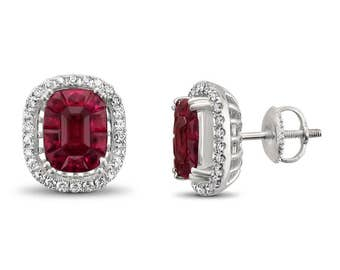 18k White Gold Invisible-Set Natural Red Ruby & Round Diamond Halo Stud Earrings (5.89 cttw, H-I, VS2-SI1)