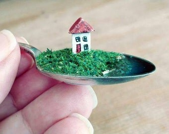 Little wooden house, vintage English teaspoon, tiny, diorama, sculpture, ornament, decoration, christening, wedding, new home keepsake, cute