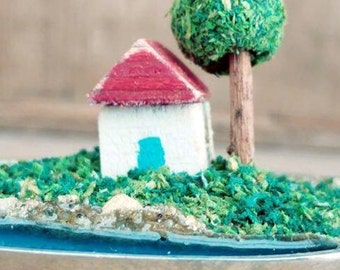 Little house, vintage spoon, English, miniature diorama, house, seaside, tree, sculpture, beach, keepsake, new home, cottage, sea, water