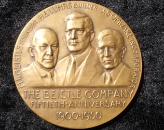 The Beistle Company, 50th Anniversary Medal, 1900 to 1950, Bronze