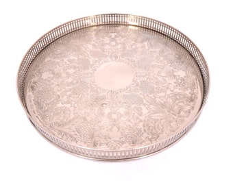 "11"" Arthur Price Silver Plated Gallery Tray, Round Silver Drinks Tray, Round Silver Serving Tray, Silver Butlers Tray, English Silver"