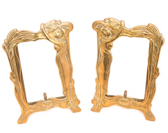 Vintage Pair of Large Brass Photo Frames, Art Nouveau Lady Picture Frame, Gold Frame, Hollywood Regency Free Standing Photo Frame,