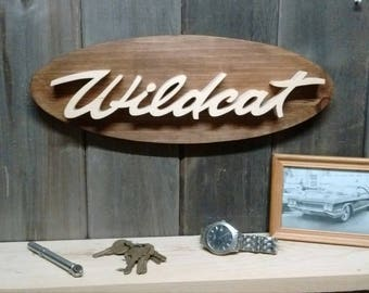 1960's Buick Wildcat Emblem Oval Wall Plaque-Unique scroll saw automotive art created from wood for your garage, shop or man cave.