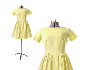 1950s Dress,Yellow 50s Dress, Yellow Dress, Cotton Dress, Summer Dress, Casual Dress, Day Dress, 50s Vintage Clothing, 1950s Vintage DRess