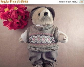 "Teddy Bear Plush Stuffed Animal 12"" Beige  Dad  or Grandpa Preppy Dressed Cardigan Sweater Vest Cap Shoes Vintage 1993 Tenderheart Treasures"