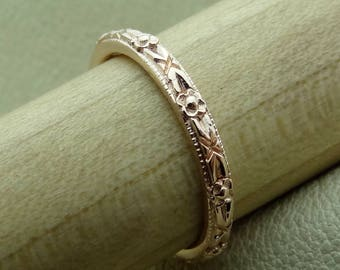 Thin Art Deco Flower Style Engraved Wedding Band 14k White, Yellow, Rose Gold Vintage / Antique Style Ring
