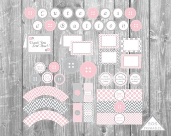 Cute as a Button Party -Complete Party - 10 Printable PDF Files - Instant Download