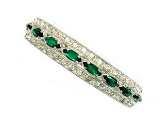 Art Deco Nouveau Rhinestone Bangle Bracelet, Hinged Bangle Bracelet, Emerald Green and Clear Rhinestones,  Silver Tone Metal, Vintage 1920s