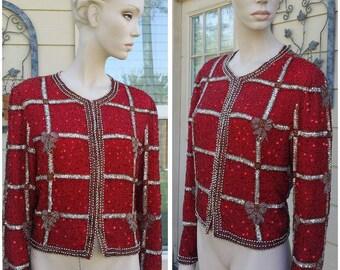 vintage Laurence Kazar 100% Silk red Sequin Lined Jacket top