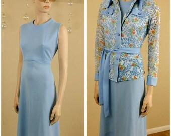 Beautiful Vintage 70s blue dress 2 pieces