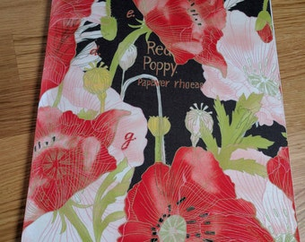 Original handmade  journal diary visual art book cover - A4 size Red Poppies on Black - with or without pocket