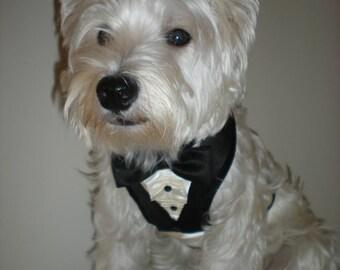 Black all Satin Wedding Dog Tuxedo, Formal Dog Tuxedo, Formal Dog Suit, Dog Formal Bandana, Dog harness vest, Ring bearer Tuxedo,bow tie,tie