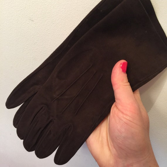 1940s brown suede gloves vintage leather top stitching 1930s original accesories size 6 6.5 winter fine leather Morley