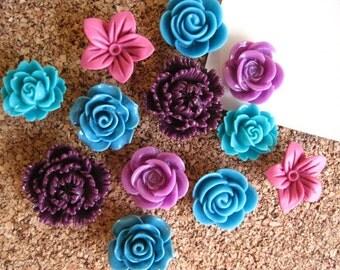 Flower Thumbtack Set, 12 pc Pushpin Set in Deep Teal, Lilac and Plum, Bulletin Board Tacks, Wedding Decor, Gifts, Housewarming Gift