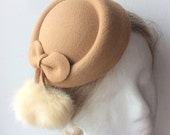 20% OFF HOLIDAY SALE - Camel Felt Winter Fascinator Hat Hair Clip - Available in Mustard yellow, Dusty Pink, and Red