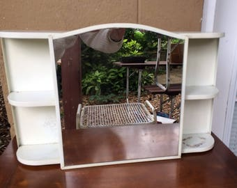 "Vintage Metal Vanity Mirror with Side and Interior Shelves, 21.5"""