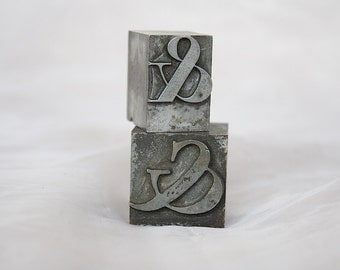Metal Ampersand Decor - Ampersand Printing Blocks - Ampersand Font Block - Ampersand Symbol - Ampersand Typography - Vintage Printers Blocks