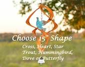 "BreezeWay 15"" Copper  Wind Spinner - Choose Interior - Dove, Heart, Elephant, Cardinal, Hummingbird, Butterfly, Cross, Trout, more..."