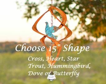 "BreezeWay 15"" Copper Wind Spinner | Garden Art|Shape Options-Hummingbird-Dove-Heart-Elephant-Dragon Fly-Butterfly-Cross-Trout-Horse more..."