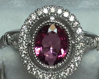 14kt white gold antique style diamond and pink tourmaline ring size 7