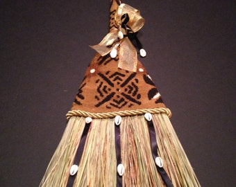 WEDDING BROOM II with Hand Woven African Mudcloth
