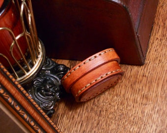 Leather Oval Box Saddle Tan Plain No Design Steampunk Victorian