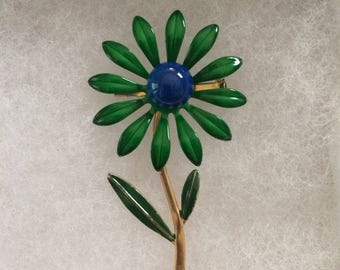 1960s Mod metal flower brooch