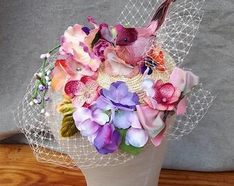 "Headpiece ""nested Beauty"" colorful fascinator Bird hydrangea veil bird cageVintage Unique bridal head flowers bridesmaid Customizing lilac"
