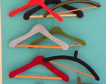 Set of 10 vintage funky kitschy crochet retro  Clothes Coat Hangers Shop Display 1960s 1970s