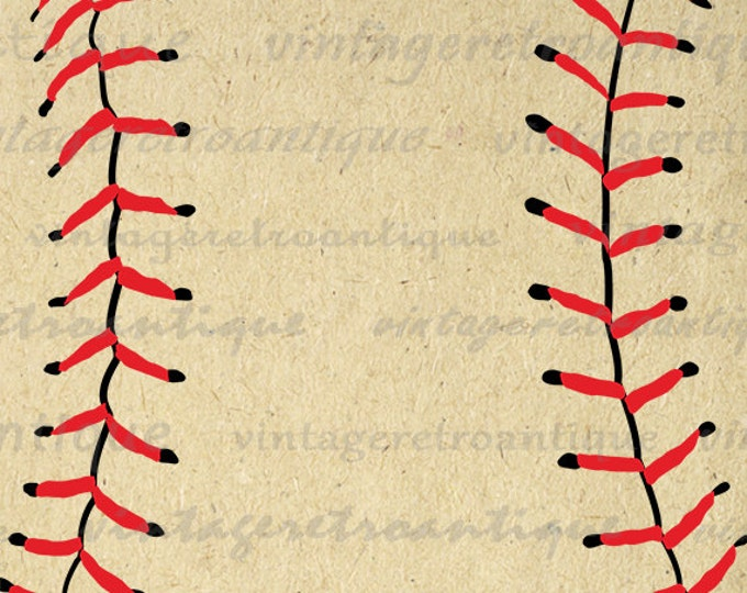 Baseball Digital Image Baseball Seams Graphic Sports Clipart Baseball Printable Download Vintage Clip Art Jpg Png Eps HQ 300dpi No.3933