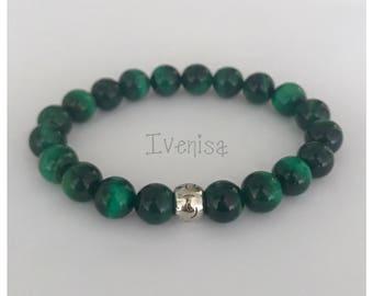 fathers day gift. men bracelet. stretch bracelet. green tiger eye bracelet. elastic bracelet. tiger eye men bracelet. handmade bracelet.