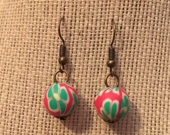 12mm Coral&Teal Floral Clay Bead Earrings