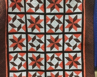 Brown, rust and cream handmade lap Quilt