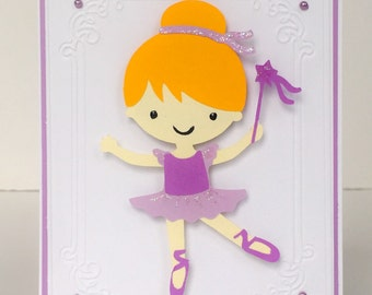 Handmade Ballet Card, Custom Card, Dancer Card, Recital Card, Dance Card, Ballerina Card, Girls Birthday Card, Dance Recital Card, Kids Card