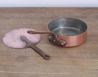 Antique French Copper Saute Frying Pan Pot Tin lined Lid Cookware