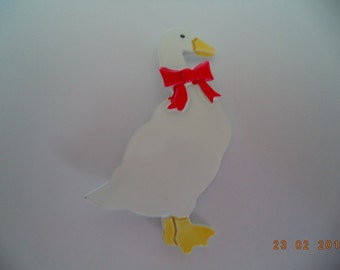 Vintage Signed JJ White Goose wearing Red Bow Brooch/Pin