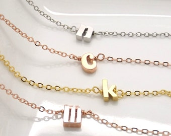 Lowercase initial bracelet, silver rose gold or gold plated initial bracelet, monogram bracelet, bridesmaid gift, bridesmaid jewelry