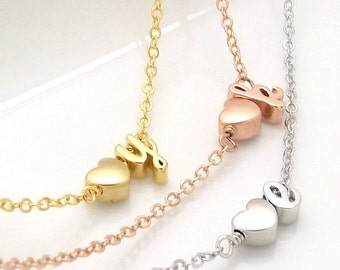 Silver, rose gold , gold plated heart and initial necklace, bridesmaid gift, bridesmaid necklace,wedding jewelry,initial necklace