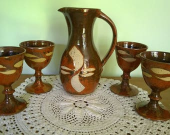 Welcombe Pottery-Clive G. Pearson-large jug/pitcher with 4 goblets studio wax resist handmade