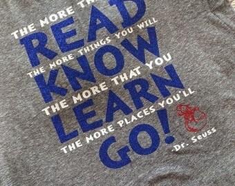 Dr. Seuss READ KNOW LEARN birthday shirt Teacher shirts