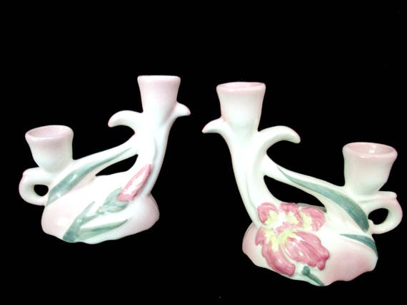 Vintage Candleholders, Pink Florals, Iris, Green Leaves, Double Stemmed, Mid Century Candle Holders, USA Pottery, Farmhouse Cottage Decor